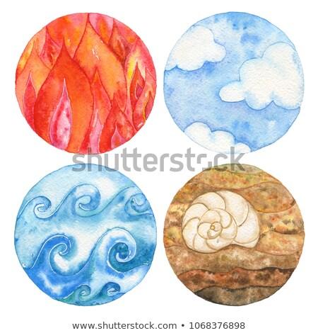 Foto stock: Mar · conchas · conjunto · quatro · elementos · subaquático