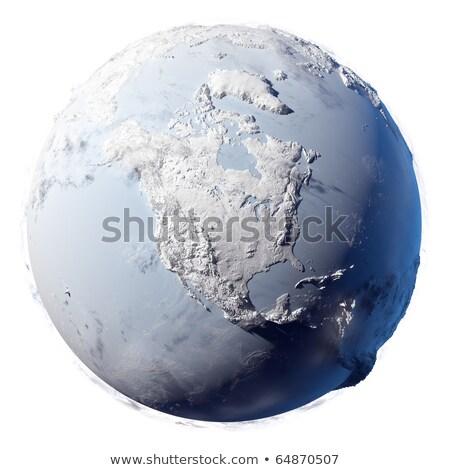 Buz dünya 3d illustration kuzey güney amerika harita Stok fotoğraf © 7Crafts