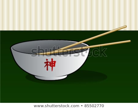 Soup Ramen noodles in glass bowl and wooden sticks Stock photo © Karpenkovdenis