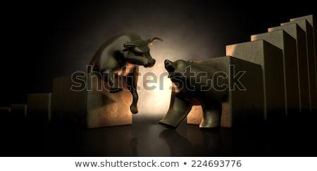 bull and bear market trend bronze castings stock photo © albund