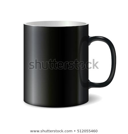 Stock photo: Black big ceramic cup for printing corporate logo