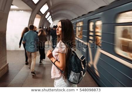 nő · metró · állomás · fiatal · nő · tél · kabát - stock fotó © adrenalina