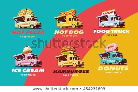 Hot dog car food truck. Fast food car. Vector illustration Stock photo © MaryValery