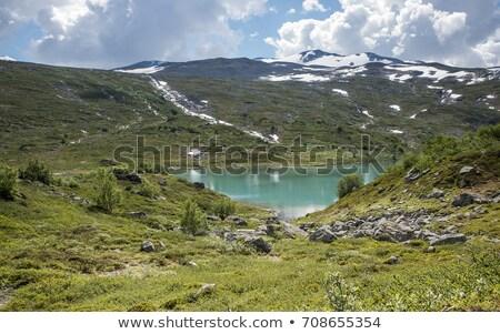 ストックフォト: 小 · 湖 · 自然 · 青 · 水 · 山