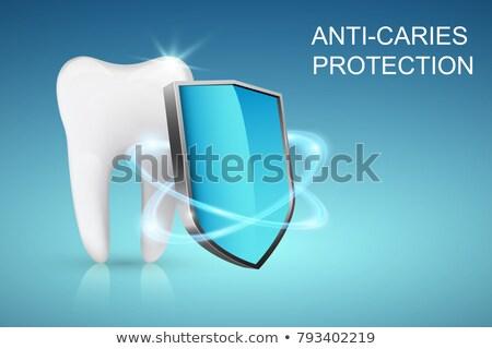 Foto stock: Proteção · dente · escudo · médico · dental · ilustração