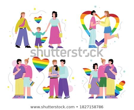 transgender male set of symbols isolated on white background unisex stylized human icon silhouet stock photo © pikepicture