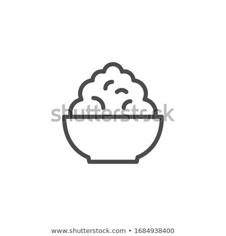 Házi készítésű túró tál vektor ikon konyha Stock fotó © MarySan