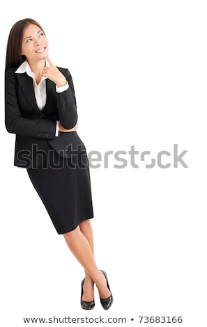 Lado mulher jovem cotovelo branco parede Foto stock © feedough
