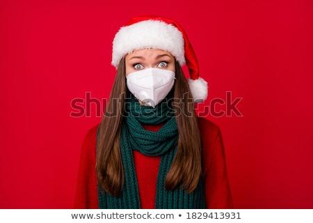 mujer · hermosa · rojo · mitones · Foto · mujer · invierno - foto stock © dolgachov