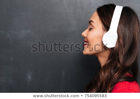 profiel · tevreden · brunette · vrouw · Rood · blouse - stockfoto © deandrobot