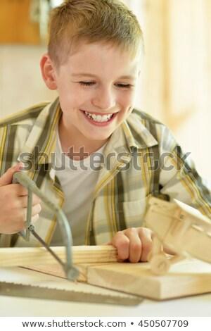 Garçon vu jeunes souriant poing bonheur Photo stock © IS2
