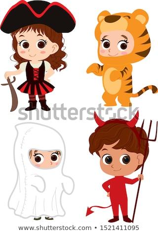 Garçon up tigre enfant amusement extérieur Photo stock © IS2