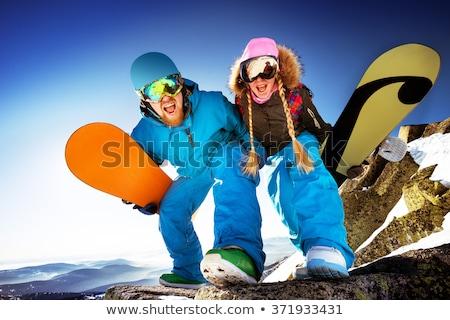 Casal esquiador inverno ilustração mulher esportes Foto stock © adrenalina