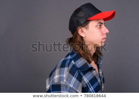 Férfi kalap szürke nő divat öltöny Stock fotó © wavebreak_media