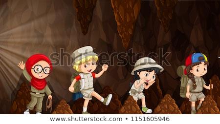 Nemzetközi gyerekek felfedez barlang illusztráció lány Stock fotó © bluering