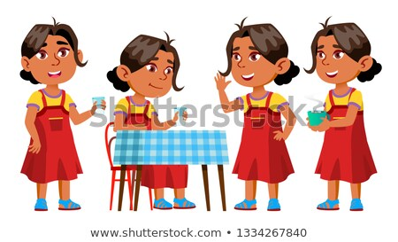 Girl Kindergarten Kid Poses Set Vector. Kiddy, Child Expression. Junior. For Postcard, Cover, Placar Stock photo © pikepicture