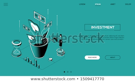 Businesswoman watering the plant - line design style illustration Stock photo © Decorwithme