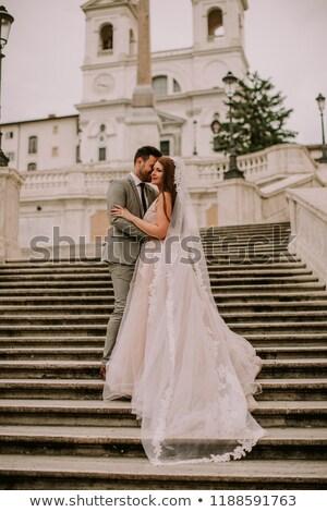 érzelmes · pillanat · esküvő · nap · gyönyörű · friss · házas - stock fotó © boggy