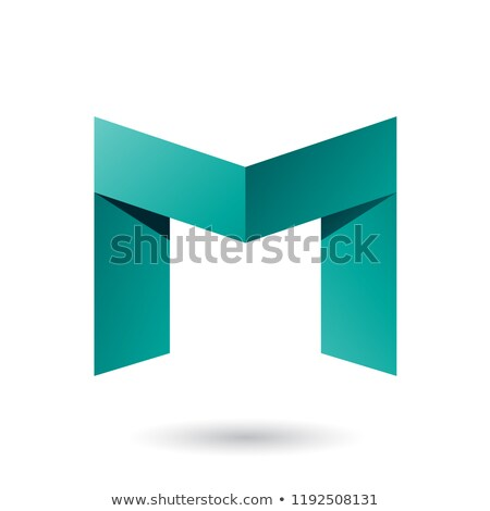 Persian Green Folded Paper Letter M Vector Illustration Stock photo © cidepix