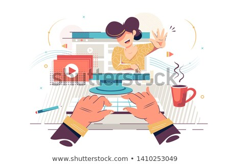 video marketing person screen vector illustration stock photo © robuart
