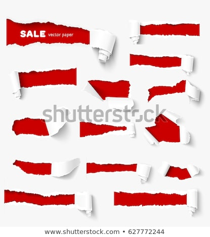 Ripped Paper Set With Red Cardboard Background Stock photo © adamson