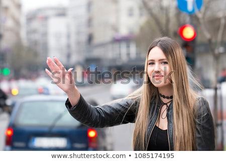Сток-фото: девушки · такси · городской · улице · жест · транспорт