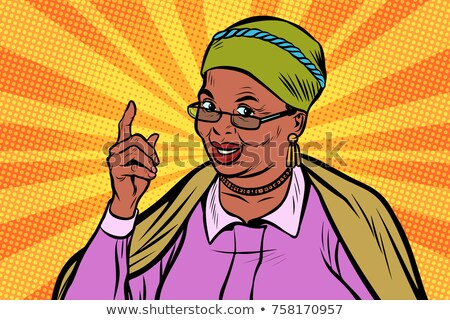 Old Woman Vector. Black. Afro American. Senior Person Portrait. Elderly People. Aged. Animation Crea Stock photo © pikepicture