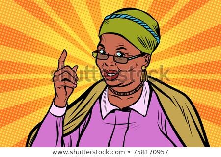 oude · vrouw · ingesteld · vector · zwarte · afro · amerikaanse - stockfoto © pikepicture