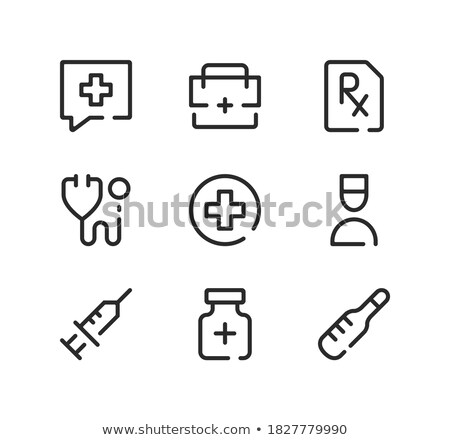 Linear Pill bottle icon with medical cross. Modern pill bottle for pills or capsules. Flat style vec Stock photo © kyryloff