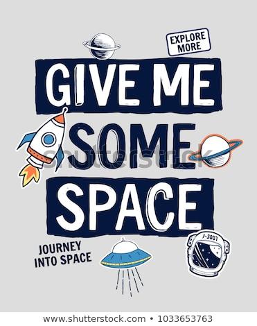 Cartoon rocket and moon in space t shirt design. Stock photo © yopixart