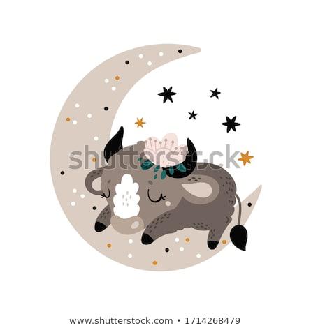 Cartoon Buffalo Dreaming Stock photo © cthoman