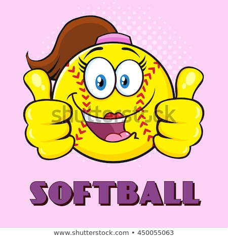 Sorridente softball menina mascote polegar Foto stock © hittoon