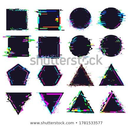 Glitch distortion frame. Vector pentacon illustration on black Stock photo © m_pavlov