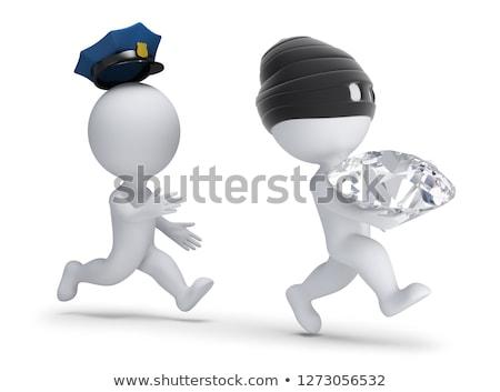 3D pequeno pessoas ladrão diamante longe Foto stock © AnatolyM