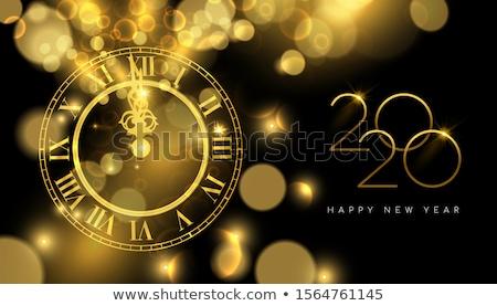 Ouro novo anos relógio tempo luxo Foto stock © cienpies