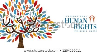 Internationaux droits de l'homme mois personnes arbre conscience Photo stock © cienpies