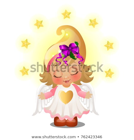 Cute animated girl with angel wings smiling with eyes closed isolated on white background. Sketch of Stock photo © Lady-Luck