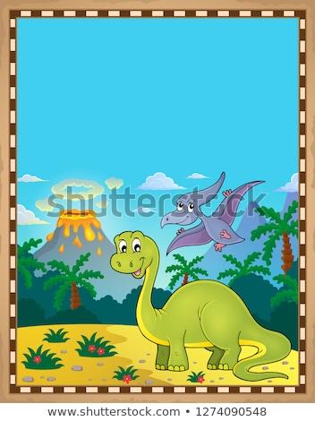 Dinoszaurusz pergamen papír természet hegy művészet Stock fotó © clairev