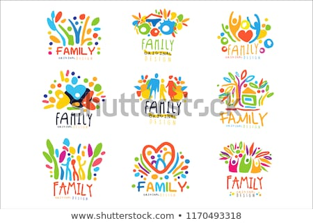 happy family posters text set vector illustration stock photo © robuart