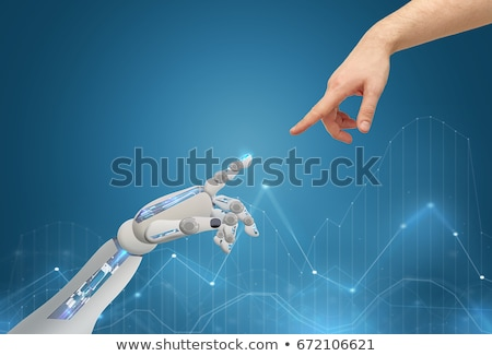 robot and man touching each others finger stock photo © andreypopov