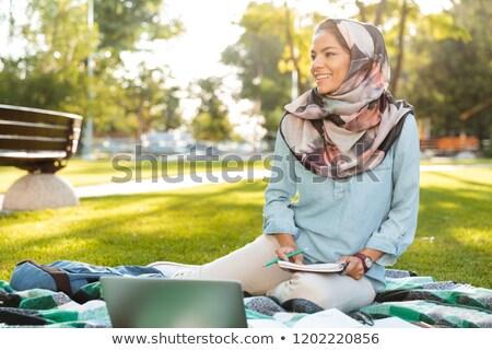 Fotó örömteli arab nő visel fejkendő Stock fotó © deandrobot