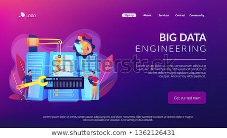 Duży danych inżynierii app interfejs szablon Zdjęcia stock © RAStudio