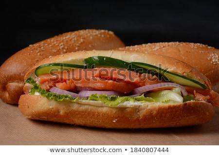 Taze sağlıklı somon sandviç marul salatalık Stok fotoğraf © DenisMArt