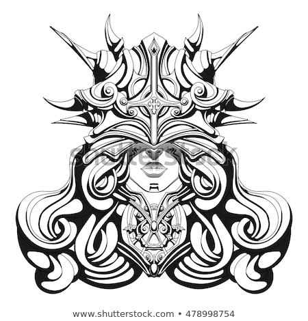 красивой · воин · женщину · изображение · викинг · маске - Сток-фото © Stasia04