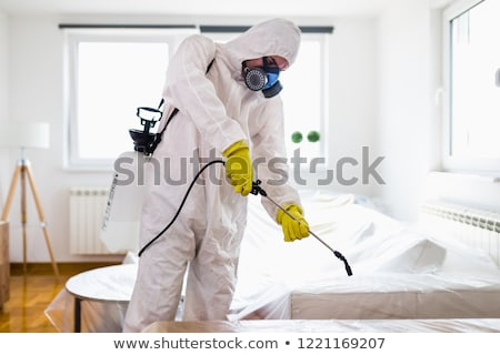 Worker Spraying Pesticide In Kitchen Stock photo © AndreyPopov