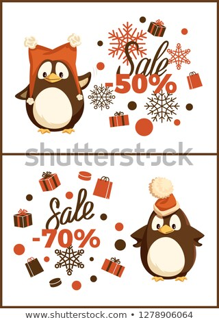 Christmas Sale Penguin in Hat with Pompon Vector Stock photo © robuart