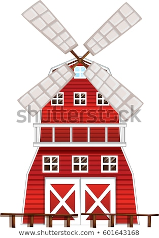 Red windmill with windows Stock photo © colematt