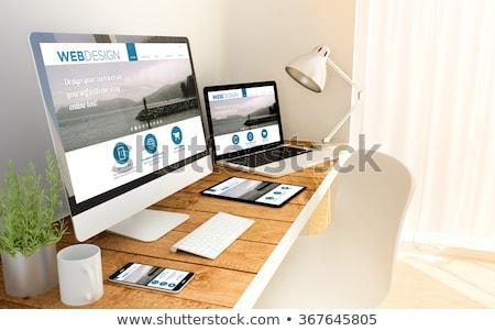ストックフォト: ウェブ · デザイナー · スマートフォン · ノートパソコン · オフィス · アプリ