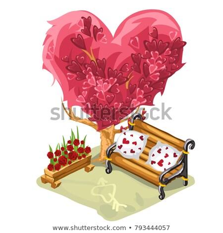 Confortável banco datas romântico reuniões árvore Foto stock © Lady-Luck