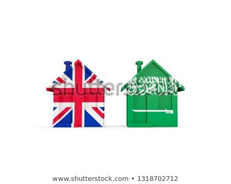 Stockfoto: Twee · huizen · vlaggen · Verenigd · Koninkrijk · Saoedi-Arabië · geïsoleerd